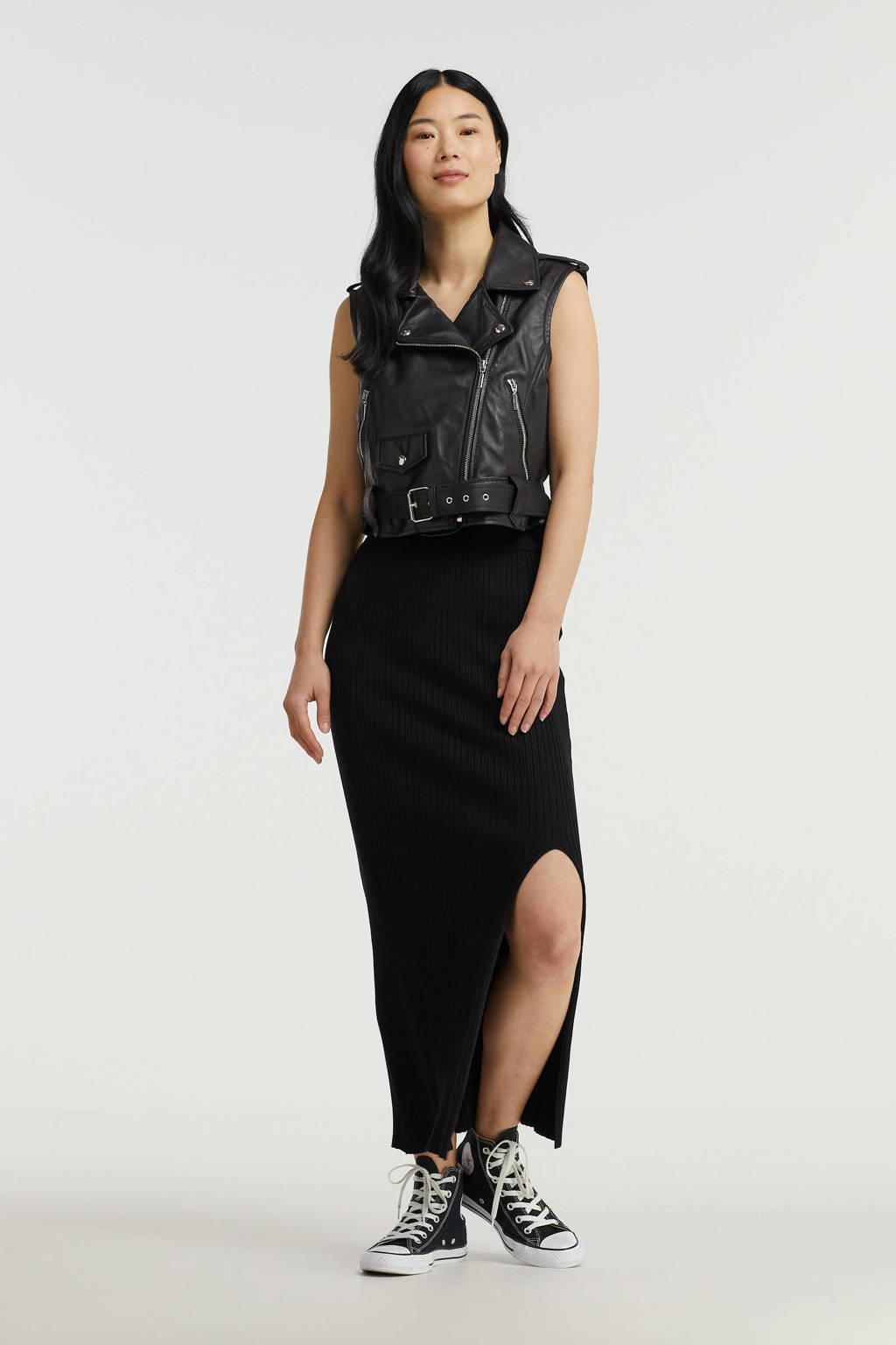 SisterS Point ribgebreide rok zwart, Zwart