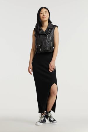 ribgebreide rok zwart