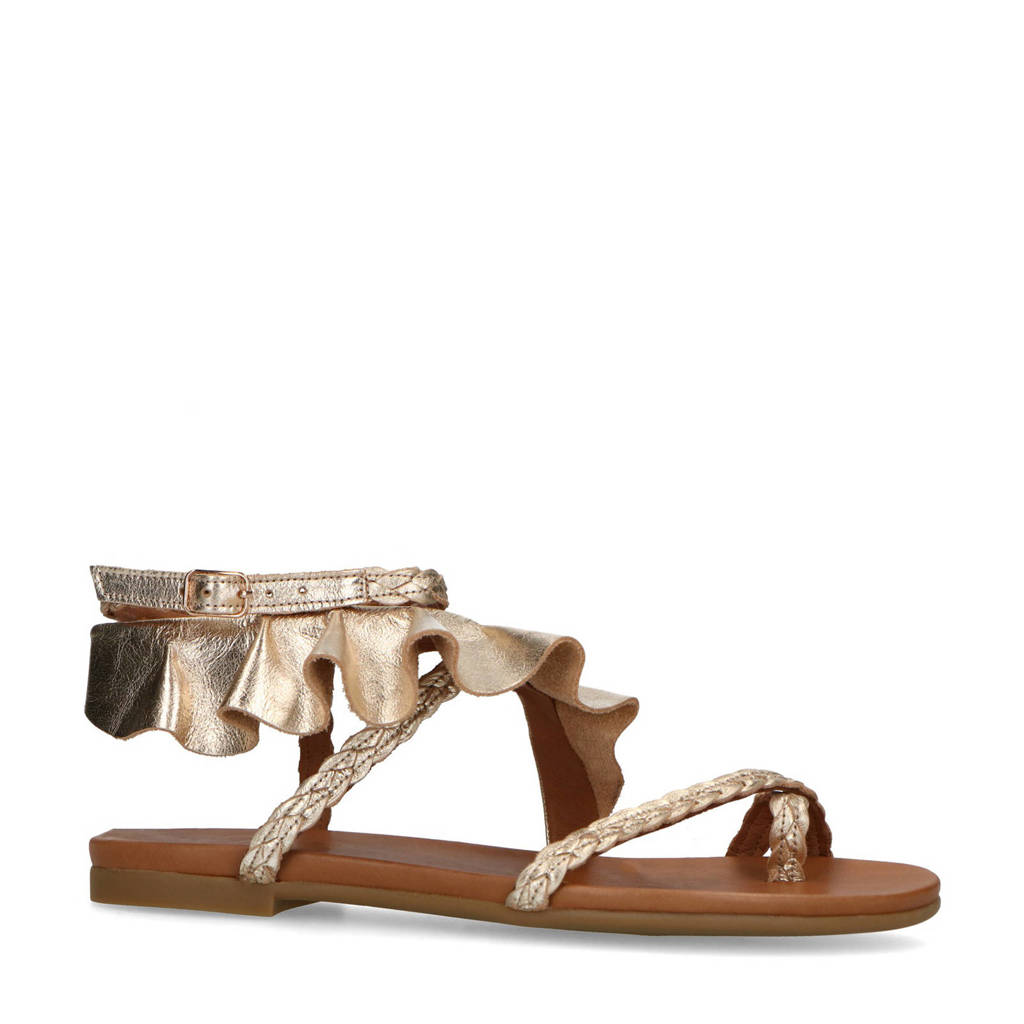Mrs Keizer by Manfield   leren sandalen met ruffles goud, Goud