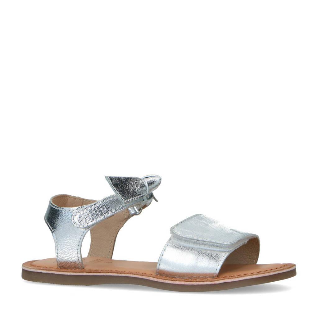 Mrs Keizer by Manfield   leren sandalen zilver, Zilver