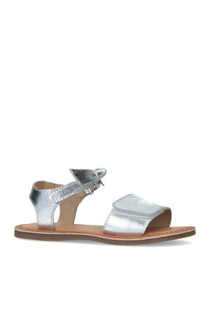 leren sandalen zilver
