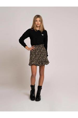 rok Irene van gerecycled polyester zwart/zand
