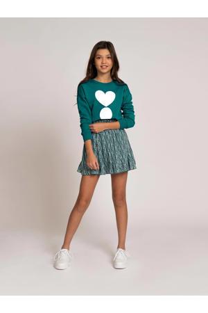 rok Ilona van gerecycled polyester groen/wit