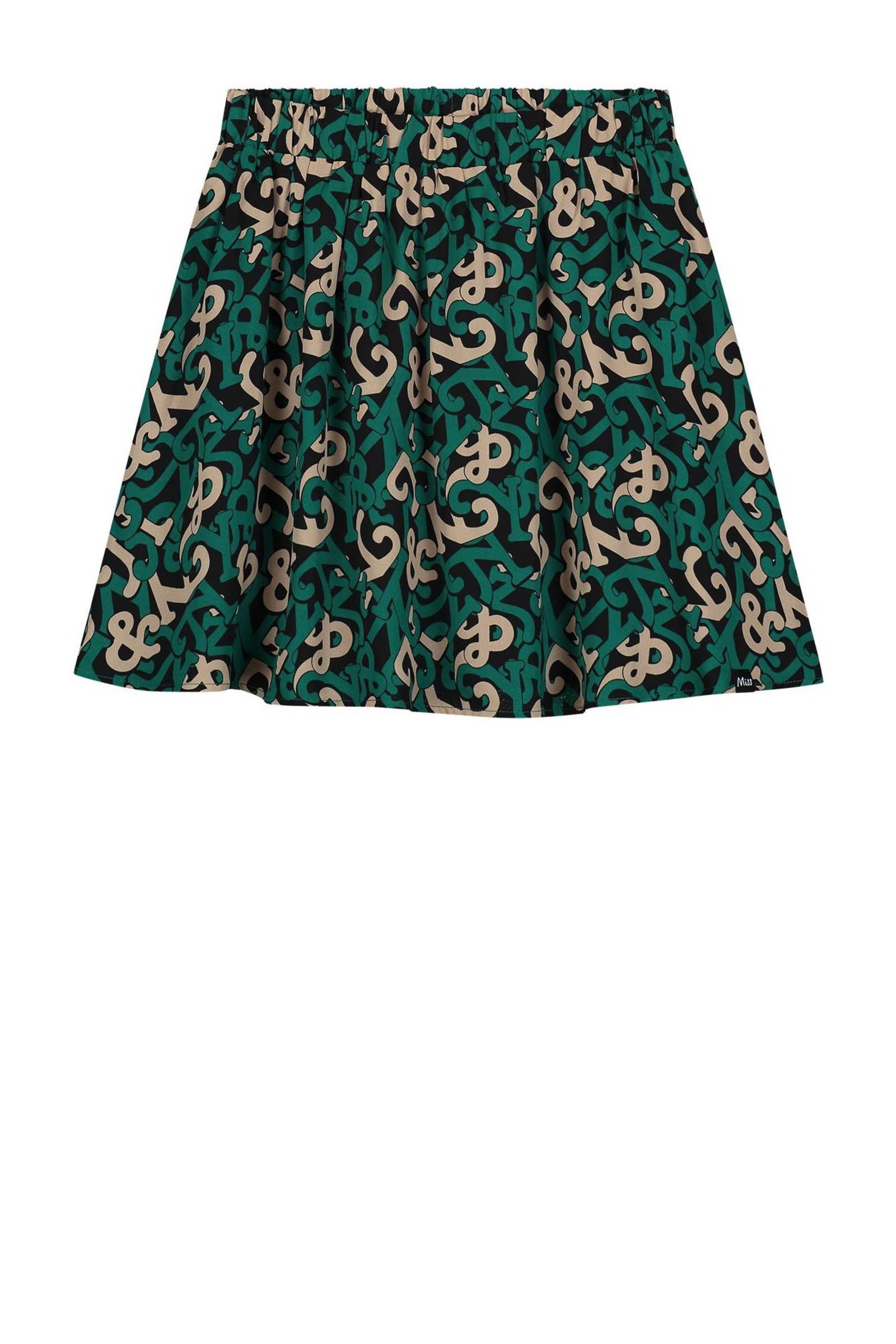 NIK&NIK rok Ivy van gerecycled polyester groen/zand/zwart online kopen