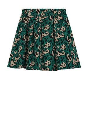 rok Ivy van gerecycled polyester groen/zand/zwart