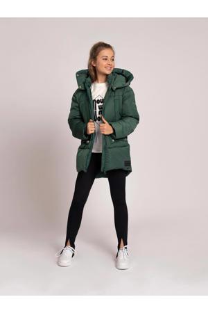 gewatteerde winterjas Jetly met logo groen