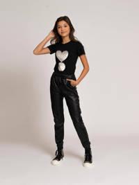 NIK&NIK T-shirt Valerie met reversible pailletten zwart, 9000 black