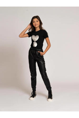 T-shirt Valerie met reversible pailletten zwart