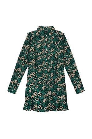 A-lijn jurk Ivy van gerecycled polyester groen/zand