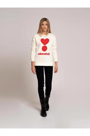 sweater Valerie met printopdruk offwhite