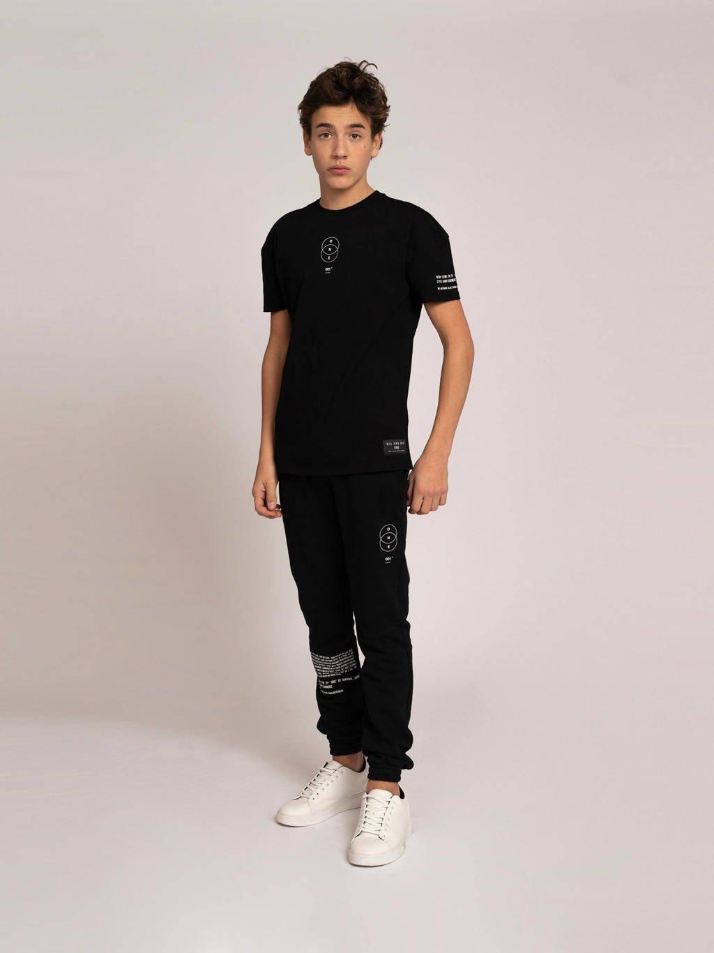 NIK&NIK joggingbroek Jip One met printopdruk zwart, Zwart