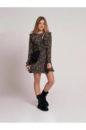 jurk Irene van gerecycled polyester zwart/zand