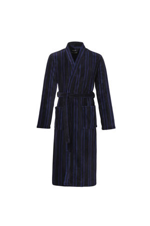 gestreepte fleece badjas donkerblauw