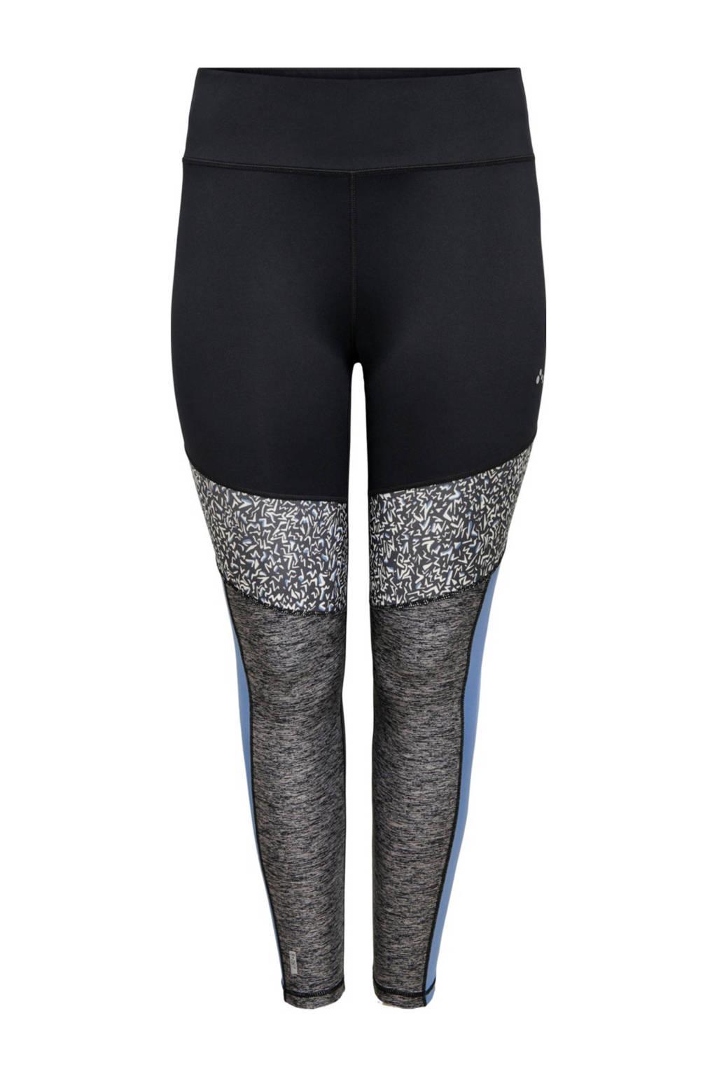 Only Play Curvy Plus Size sportbroek ONPJUDIEA zwart/blauw, Zwart/blauw