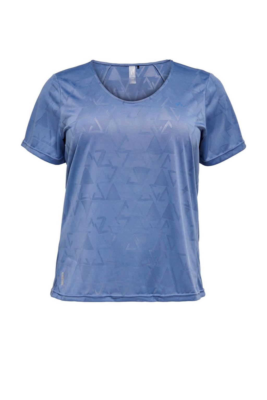 Only Play Curvy Plus Size sport T-shirt ONPJUE blauw, Blauw