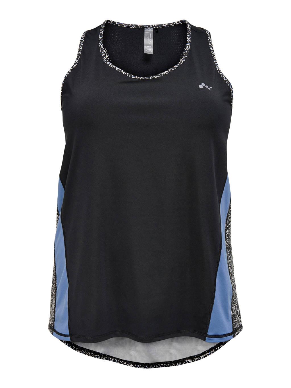 Only Play Curvy Plus Size sporttop ONPJUDIEA zwart/blauw/wit, Zwart/blauw/wit
