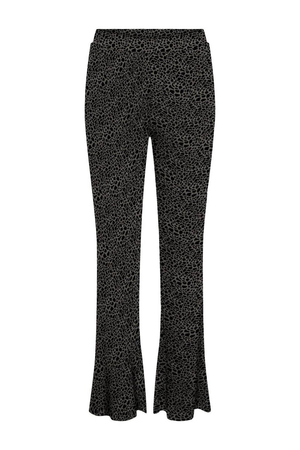 NOISY MAY high waist flared broek NMSOFIE  met biologisch katoen groen/zwart, Groen/zwart