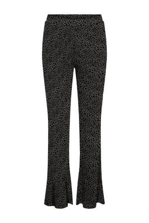 high waist flared broek NMSOFIE  met biologisch katoen groen/zwart