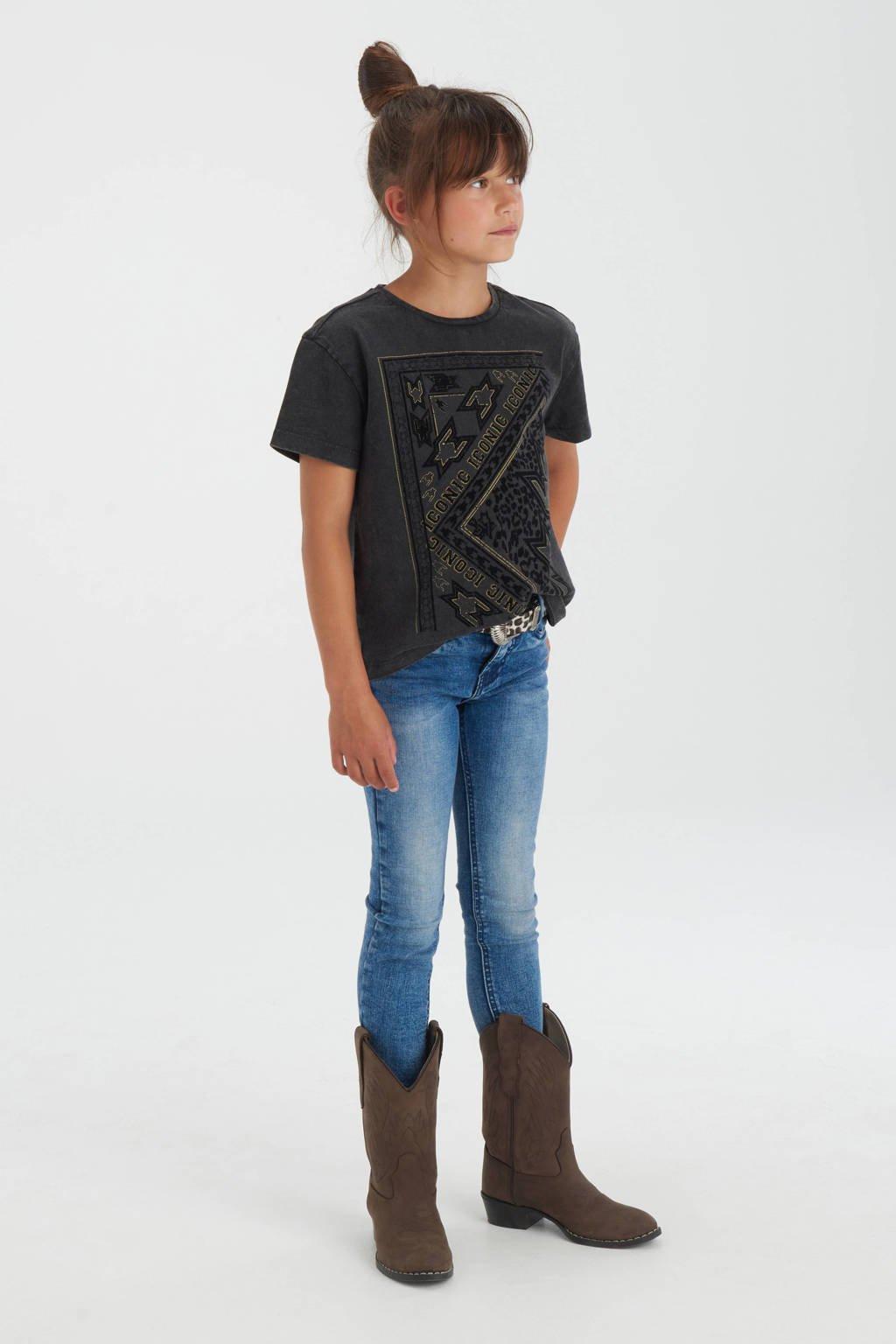 Shoeby Jill & Mitch T-shirt Sanna met printopdruk donkergrijs, Donkergrijs