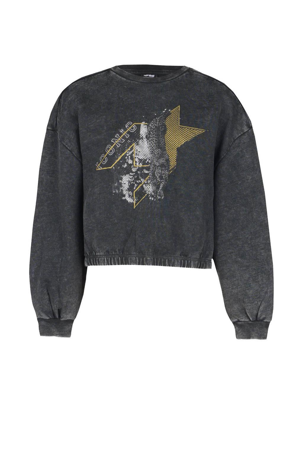 Shoeby Jill & Mitch sweater Layla met printopdruk antraciet, Antraciet