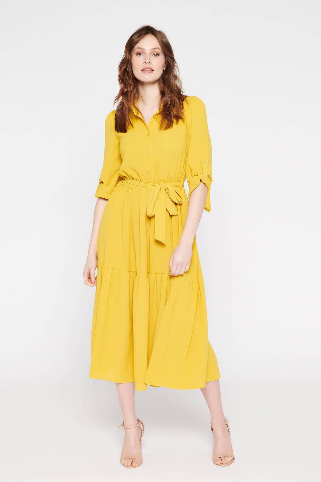LOLALIZA blousejurk met ceintuur geel, Geel