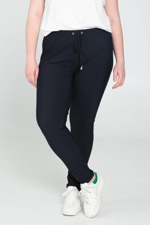 skinny joggingbroek van travelstof donkerblauw