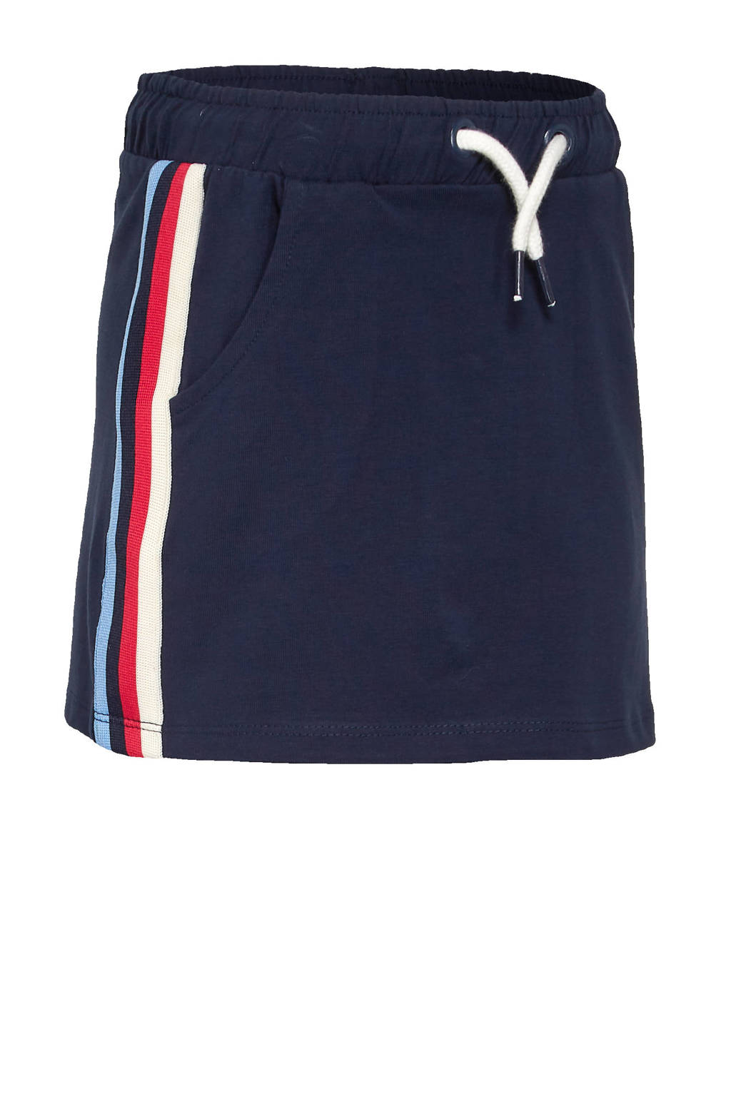 C&A Palomino rok met contrastbies donkerblauw/rood/wit, Donkerblauw