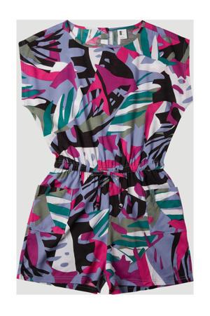 jumpsuit met all over print paars/groen/blauw