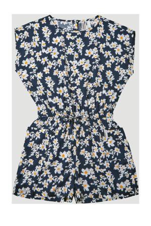 gebloemde jumpsuit donkerblauw/wit/geel