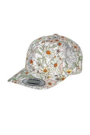 pet Beach Cap met bloemenprint wit