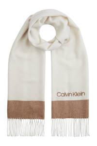 CALVIN KLEIN sjaal ecru/bruin, Ecru/bruin