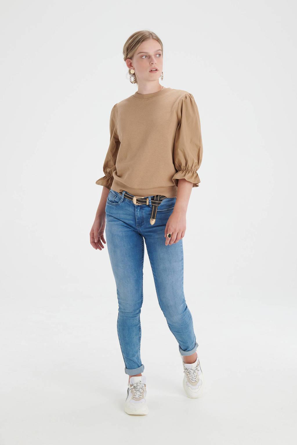 Shoeby Eksept sweater Birdy met ruches lichtbruin, Lichtbruin