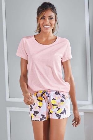 gebloemde pyjamashort wit/roze/geel