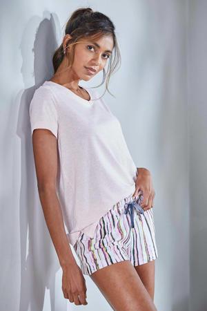 gestreepte pyjamashort roze/wit/geel