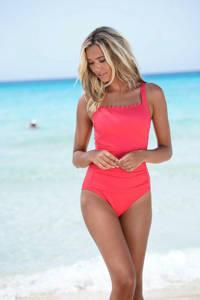 Lascana badpak met schulprand rood, Rood