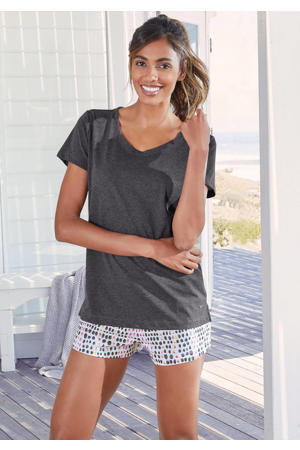 pyjamashort met all over print wit/roze/grijs