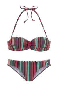 s.Oliver gestreepte strapless bandeau bikini roze/multi, Roze/multi