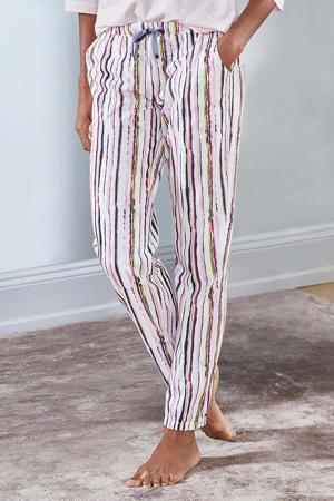 gestreepte pyjamabroek roze/wit/geel