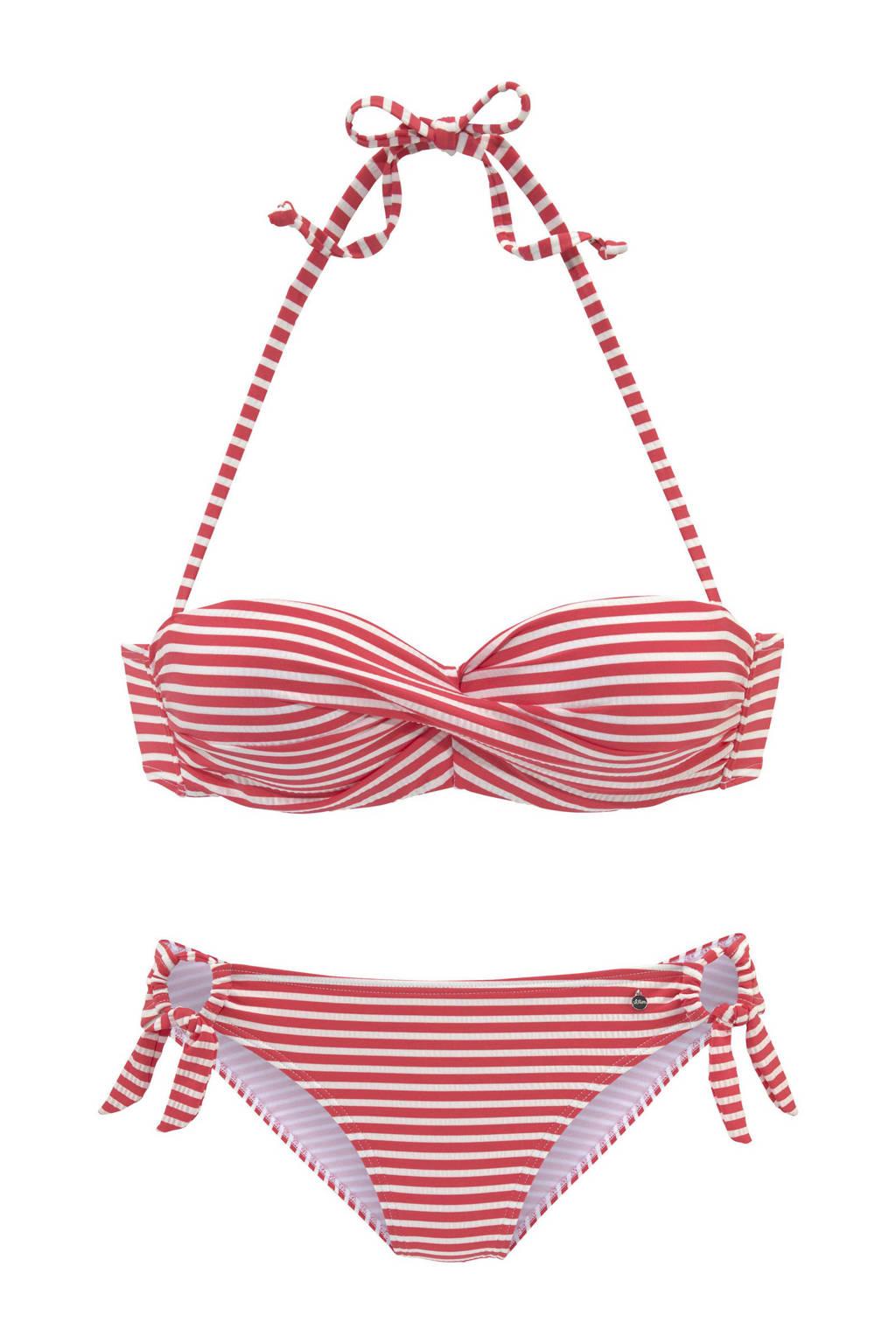 s.Oliver gestreepte strapless bandeau bikini rood/wit, Rood/wit