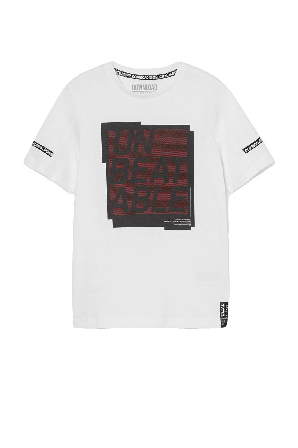 C&A T-shirt van biologisch katoen wit/zwart/rood, Wit/zwart/rood