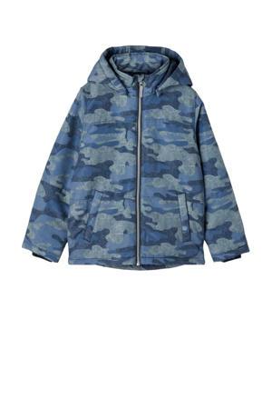 winterjas Max met camouflageprint donkerblauw/lichtblauw