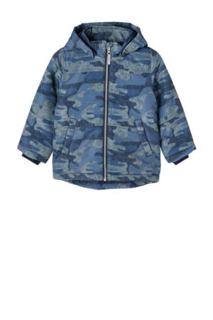 baby  winterjas Max met camouflageprint blauw