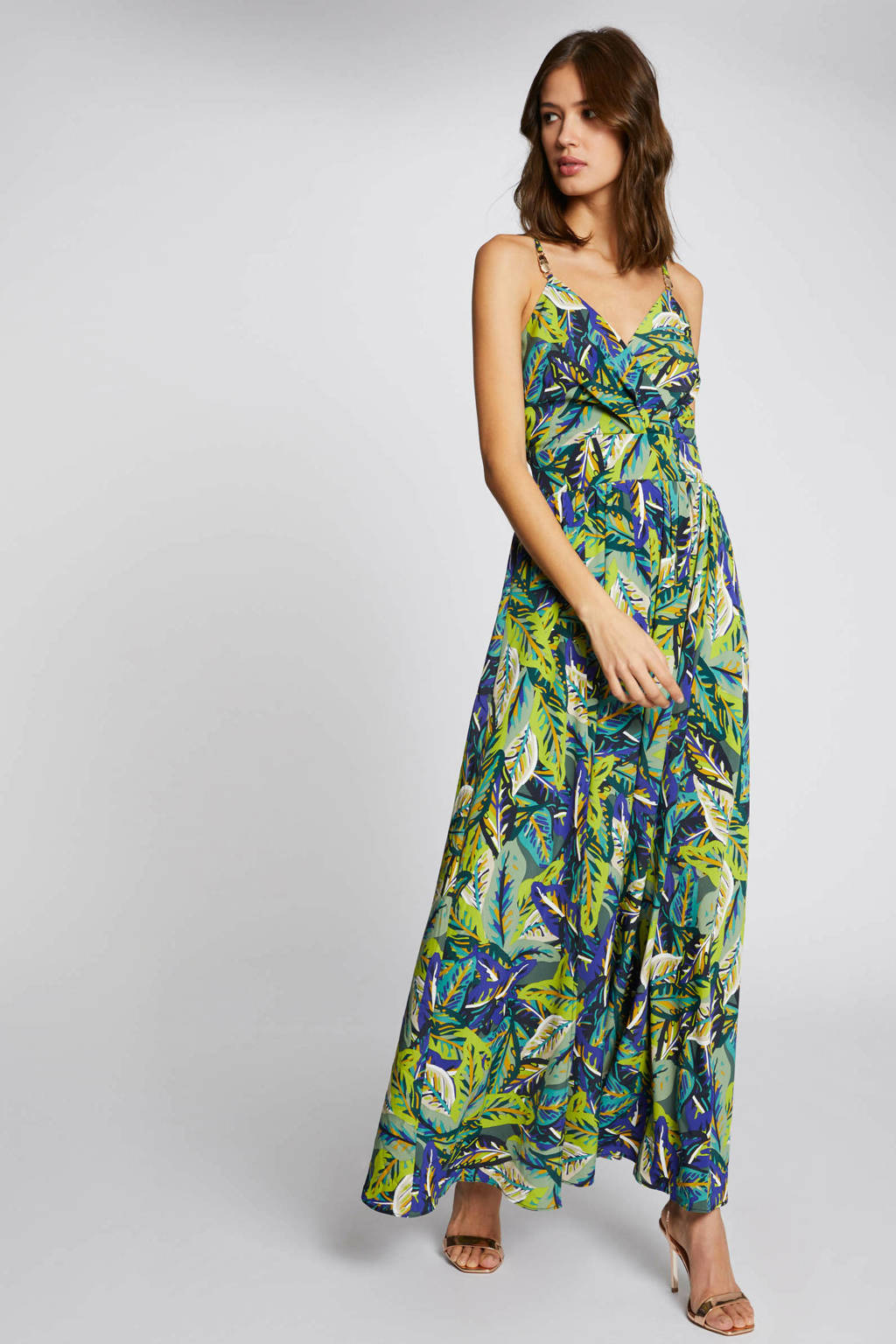 Morgan maxi jurk met bladprint en plooien groen/ blauw