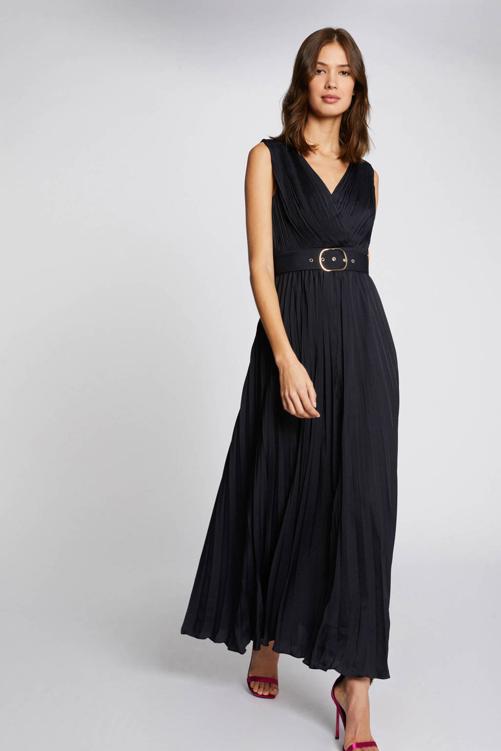 Morgan maxi A-lijn jurk met plooien marine, Marine