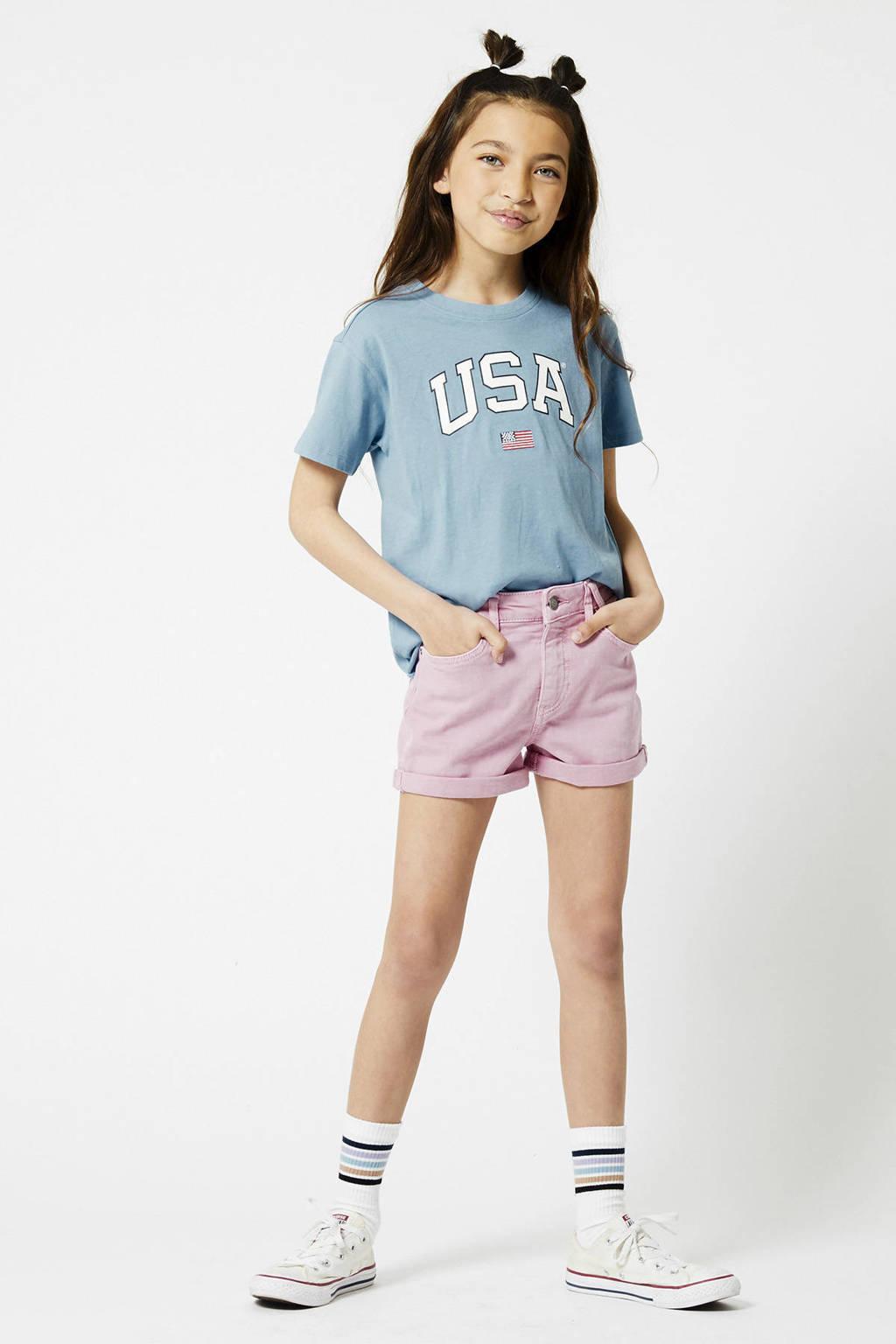 America Today Junior T-shirt Elly van biologisch katoen blauw, Blauw