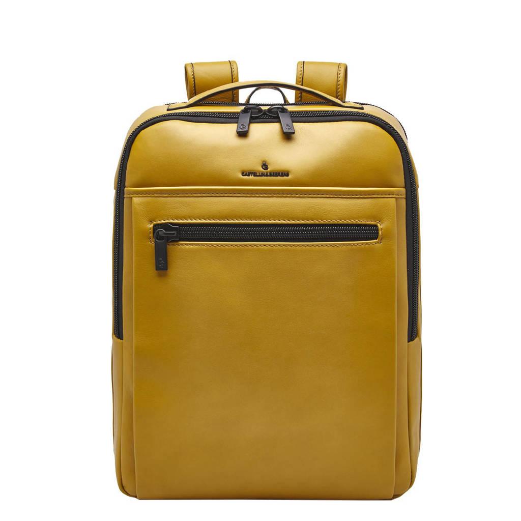 Castelijn & Beerens  15.6 inch leren business rugzak Nappa x Victor okergeel, Okergeel