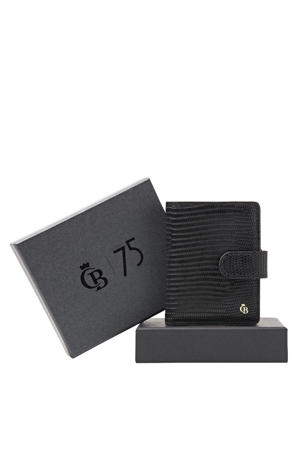 leren portemonnee + giftbox zwart