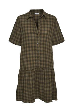 geruite jurk NMHANNIE bruin/zwart