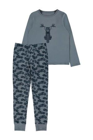 pyjama met printopdruk grijsblauw