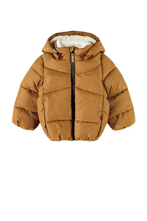gewatteerde winterjas NMMMAKE van gerecycled polyester bruin